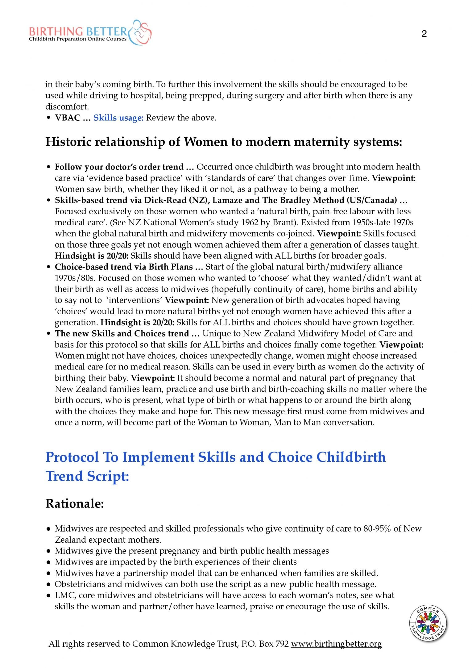 NZ midwife 2-year trial skills protocol p.2