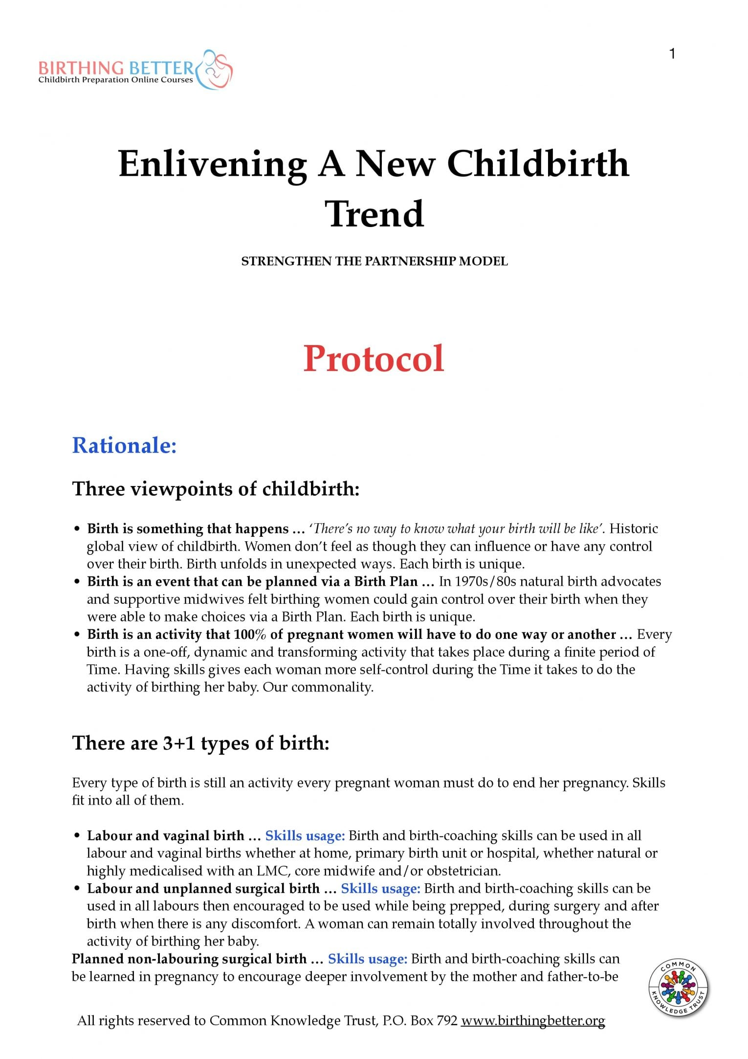 NZ midwife 2-year trial skills protocol p.1